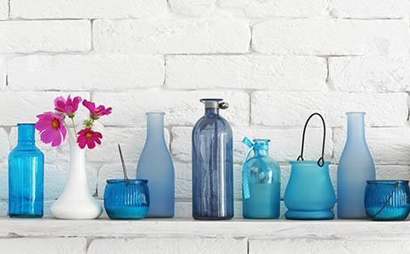 Inspiration Farben Dekoration Glasflaschen blau