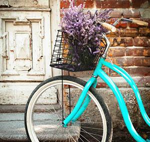 Inspiration Dekoration Blumen Fahrrad blau
